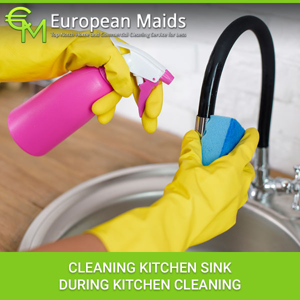 Cleaning Kitchen Sink During Kitchen Cleaning
